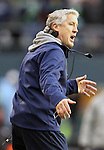 Seattle Seahawks Head Coach Pete Carroll, left, argues a call during their game against the St. Louis Rams at CenturyLink Field in Seattle, Washington on December 30, 2012.   The Seahawks came from behind to beat the Rams 20-13.    © 2102.  Jim Bryant Photo. All Rights Reserved.
