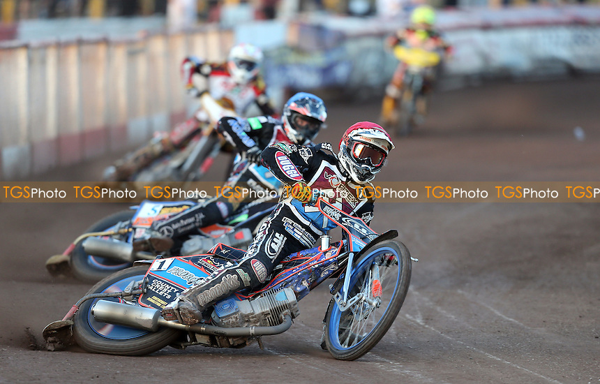 Heat 5: Davey Watt (red), Peter Karlsson (blue), Mads Korneliussen (white) and Lasse Bjerre (yellow) - Lakeside Hammers vs Leicester Lions, Elite League Speedway at the Arena Essex Raceway, Pufleet - 13/06/14 - MANDATORY CREDIT: Rob Newell/TGSPHOTO - Self billing applies where appropriate - 0845 094 6026 - contact@tgsphoto.co.uk - NO UNPAID USE