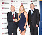 27/10/2015   With Compliments.  Attending the GAA High Performance Scholarships 2015-2016 in the Castletroy Park Hotel were Robert Frost, GAA, Munster Council Chairman who presented the Munster GAA Bursary to recipient Aishling McCarthy, Cahir. Also in the photograph is UL President Professor Don Barry.  Photograph: Liam Burke/Press 22