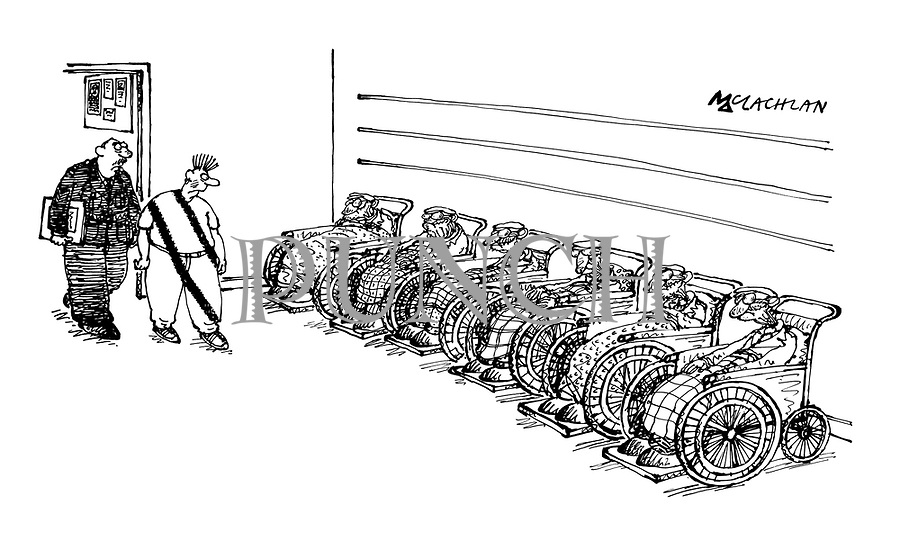 Punk covered in tyre tracks inspects an identity parade of wheelchair-bound pensioners)