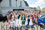 Father David Gunn performed his last official duties at the St Michaels Church in Ballinskelligs on Sunday pictured here with the congregation after mass.