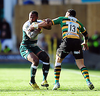 Vereniki Goneva of Leicester Tigers looks to get past George Pisi of Northampton Saints. Aviva Premiership match, between Northampton Saints and Leicester Tigers on April 16, 2016 at Franklin's Gardens in Northampton, England. Photo by: Patrick Khachfe / JMP