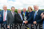 Jimmy Roche presents a cyrstal to Aogan O Fearghail, President of the GAA at the opening of the Cordal GAA pitch on Sunday l-r: Minister Jimmy Deenihan, Sean Kelly MEP, Jimmy Roche, Tom Wrenn Cordal Chairman, Frances and Aogan O Ferghail