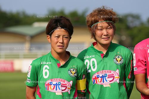 (L to R) <br /> Mizuho Sakaguchi, <br /> Saori Ariyoshi (Beleza), <br /> JULY 12, 2015 - Football / Soccer : <br /> 2015 Plenus Nadeshiko League Division 1 <br /> between NTV Beleza - AS Elfen Saitama <br /> at Hitachinaka Stadium, Ibaraki, Japan. <br /> (Photo by YUTAKA/AFLO SPORT)
