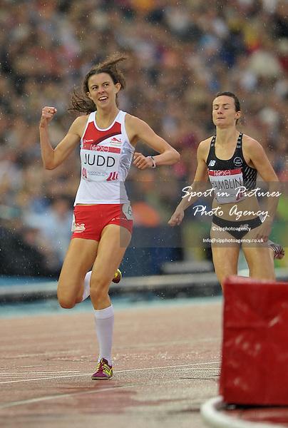 Jessica Judd (ENG) wins her semi-final. Womens 800m semi final. thletics. PHOTO: Mandatory by-line: Garry Bowden/SIPPA/Pinnacle - Tel: +44(0)1363 881025 - Mobile:0797 1270 681 - VAT Reg No: 183700120 - 310714 - Glasgow 2014 Commonwealth Games - Hampden Park, Glasgow, Scotland, UK