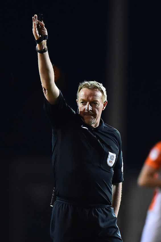 Referee Trevor Kettle gestures<br /> <br /> Photographer Richard Martin-Roberts/CameraSport<br /> <br /> The EFL Sky Bet League One - Blackpool v Charlton Athletic - Tuesday 13th March 2018 - Bloomfield Road - Blackpool<br /> <br /> World Copyright &copy; 2018 CameraSport. All rights reserved. 43 Linden Ave. Countesthorpe. Leicester. England. LE8 5PG - Tel: +44 (0) 116 277 4147 - admin@camerasport.com - www.camerasport.com