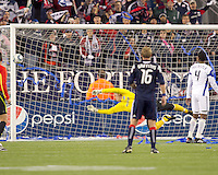 Kansas City Wizards goalkeeper Jimmy Nielsen (1). Corner kick and shot goes wide. The New England Revolution defeated Kansas City Wizards, 1-0, at Gillette Stadium on October 16, 2010.