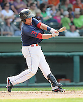 Catcher Christian Vazquez (15) of the Greenville Drive, Class A affiliate of the Boston Red Sox, in a game against the Asheville Tourists on May 1, 2011, at Fluor Field at the West End in Greenville, S.C. Photo by Tom Priddy / Four Seam Images