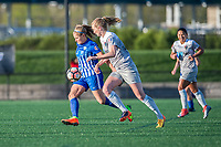 Boston, MA - Sunday May 07, 2017: Rosie White and Samantha Mewis during a regular season National Women's Soccer League (NWSL) match between the Boston Breakers and the North Carolina Courage at Jordan Field.