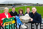 Tanaiste Joan Burton and Senator Marie Moloney met Kerry players Aidan O'Mahony, Johnny Buckley and Darran O'Sullivan and of course the Sam Maguire during a tour of Fitzgerald Stadium on Friday