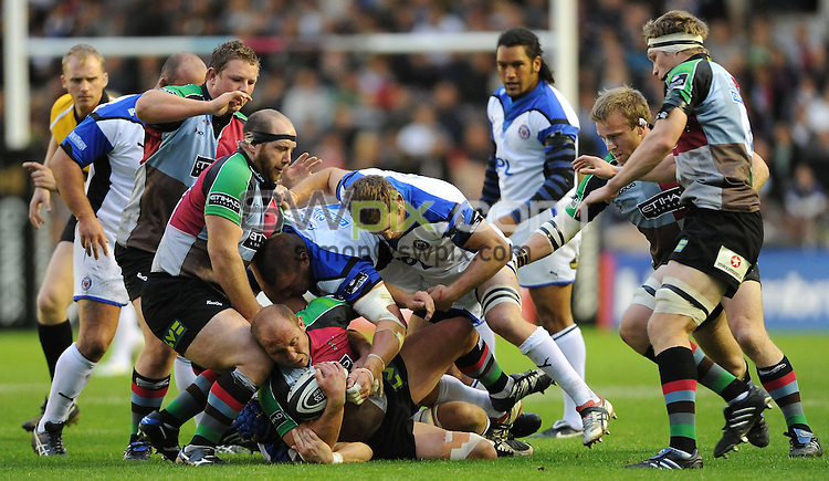 PICTURE BY JEREMY RATA/SWPIX.COM. Guiness Premiership 2009 - Harlequins v Bath - Twickenham Stoop, London, England. 3rd October 2009. Harelquins's Gary Botha finds himself at the bottom of a maul..Copyright - Simon Wilkinson - 07811267706