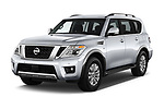 2017 Nissan Armada SV 5 Door SUV angular front stock photos of front three quarter view