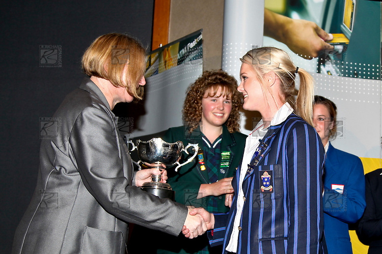 Linley Wood presents Samantha Harrison with the Young Sportswoman award. ASB College Sport Auckland Secondary School Young Sports Person of the Year Awards held at Eden Park on Thursday 12th of September 2009.