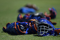 New York Mets catchers gear on the field during practice before a minor league spring training game against the Miami Marlins on March 30, 2015 at the Roger Dean Complex in Jupiter, Florida.  (Mike Janes/Four Seam Images)