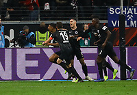 celebrate the goal, Torjubel zum 3:0 von Sebastien Haller (Eintracht Frankfurt) - 11.11.2018: Eintracht Frankfurt vs. FC Schalke 04, Commerzbank Arena, DISCLAIMER: DFL regulations prohibit any use of photographs as image sequences and/or quasi-video.