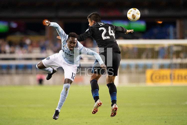 San Jose, CA - Thursday December 31, 2015: Gerso Fernandes, Nick Lima during a Major League Soccer (MLS) match between the San Jose Earthquakes and Sporting Kansas City at Avaya Stadium.