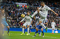 Real Madrid´s Karim Benzema and Deportivo de la Coruna's Fabricio Agosto during 2014-15 La Liga match between Real Madrid and Deportivo de la Coruna at Santiago Bernabeu stadium in Madrid, Spain. February 14, 2015. (ALTERPHOTOS/Luis Fernandez) /NORTEphoto.com
