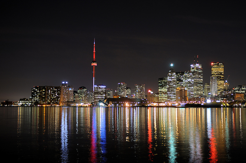 Toronto Harbor at Night as seen from the foot of Polson Street