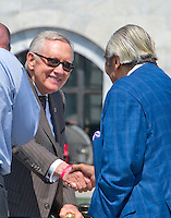 United States Senate Minority Leader Harry Reid (Democrat of Nevada) shakes hands with US Representative Charles Rangel (Democrat of New York) prior to joining other Democratic members of the US House of Representatives and US Senate assemble on the East Steps of the US Capitol to call on Republican leadership in both legislative bodies to schedule votes on funding to combat the Zika Virus, to prohibit people on the federal &quot;no fly&quot; list from purchasing guns, and to conduct confirmation hearings and schedule a vote on the confirmation of Judge Merrick Garland as Associate Justice of the US Supreme Court in Washington, DC on Thursday, September 8, 2016.<br /> Credit: Ron Sachs / CNP /MediaPunch