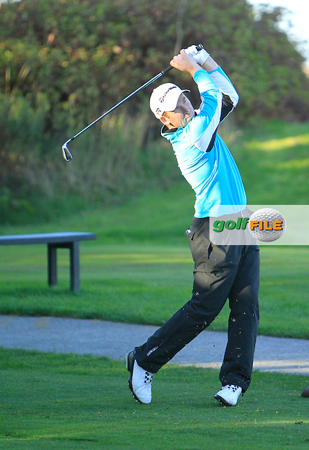 Mark O'Sullivan (Pilltown Driving Range) on the 9th tee during Round 1 of The Cassidy Golf 103rd Irish PGA Championship in Roganstown Golf Club on Thursday 10th October 2013.<br /> Picture:  Thos Caffrey / www.golffile.ie