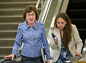 "United States Senator Susan Collins (Republican of Maine) is interviewed on the escalator to go into the Senate Subway after the vote on the repeal of the Affordable Care Act (ACA) also known as ""Obamacare"" in the US Capitol in Washington, DC on Wednesday, July 26, 2017.  The Senate voted 55-45 to reject legislation undoing major portions of President Barack Obama's signature healthcare law without a plan to replace it.<br /> Credit: Ron Sachs / CNP"
