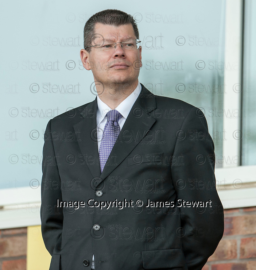SPFL Chief Executive Neil Doncaster takes his seat in the stand at Bayview Stadium to watch the League One Play Off Final, Second Leg, between East Fife FC and Stirling Albion FC.