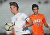 JP Basile #11 of Garden City plays a ball off of his body during the second half of a Nassau County Conference A1 varsity boys soccer game against Great Neck North at Garden City High School on Monday, Sept. 12, 2016. The game ended in a scoreless tie.