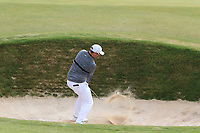 Sam Horsfield (ENG) plays out of a bunker on the 2nd during Round 1 of the Dubai Duty Free Irish Open at Ballyliffin Golf Club, Donegal on Thursday 5th July 2018.<br /> Picture:  Thos Caffrey / Golffile