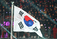 The South Korean flag flies at the opening ceremony of the Winter Olympics in Pyeongchang, South Korea, 9 February 2018. The theme of the ceremony is 'Land of Peace'. Photo: Michael Kappeler/dpa /MediaPunch ***FOR USA ONLY***