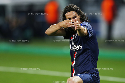 Edinson Cavani (PSG), NOVEMBER 25, 2014 - Football / Soccer : Cavani Celebrate after his goal on UEFA Champions League Group F match between Paris Saint-Germain 3-1 AFC Ajax at the Parc des Princes Stadium in Paris, France. (Photo by Mutsu Kawamori/AFLO) [3604]