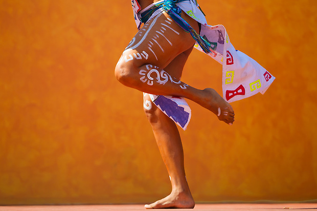 A Mayan dancer performs in Playa del Carmen, Mexico.