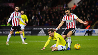 Blackburn Rovers' Joe Rothwell goes down inside the penalty area, under pressure from Sheffield United's George Baldock, but no penalty was awarded<br /> <br /> Photographer Chris Vaughan/CameraSport<br /> <br /> The EFL Sky Bet Championship - Sheffield United v Blackburn Rovers - Saturday 29th December 2018 - Bramall Lane - Sheffield<br /> <br /> World Copyright © 2018 CameraSport. All rights reserved. 43 Linden Ave. Countesthorpe. Leicester. England. LE8 5PG - Tel: +44 (0) 116 277 4147 - admin@camerasport.com - www.camerasport.com