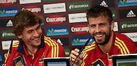 POLAND - Gniewino - 08 JUNE 2012 - Spanish National Team Training Session at Gniewino. Spanish forward, Fernando Llorente, and spanish defender, Gerard Piqué, during the press conference.