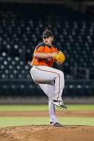 AZL Giants relief pitcher Sidney Duprey (61) delivers a pitch to the plate against the AZL Cubs on September 6, 2017 at Sloan Park in Mesa, Arizona. AZL Giants defeated the AZL Cubs 6-5 to even up the Arizona League Championship Series at one game a piece. (Zachary Lucy/Four Seam Images)