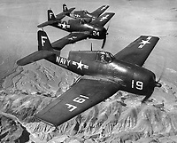 Formation of F-6F Hellcats over Nevada. Planes were based in Oakland, California