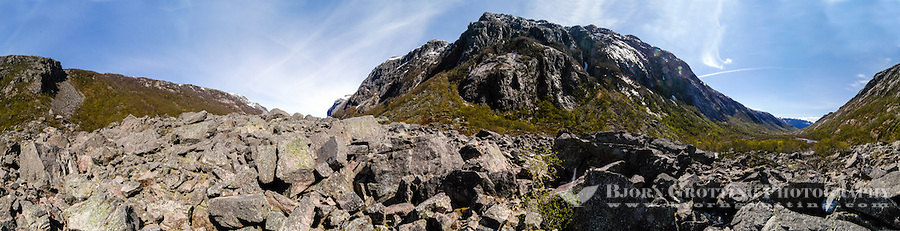 Norway, Frafjord. The Månadalen rock fall, one of the largest in this region. Stitched panorama.