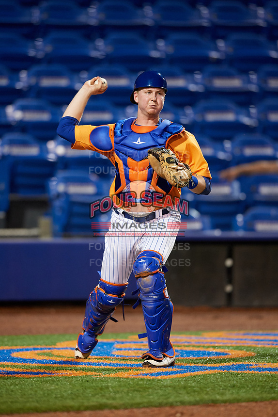 St. Lucie Mets catcher Dan Rizzie (40) throws to first base during the second game of a doubleheader against the Charlotte Stone Crabs on April 24, 2018 at First Data Field in Port St. Lucie, Florida.  St. Lucie defeated Charlotte 6-5.  (Mike Janes/Four Seam Images)