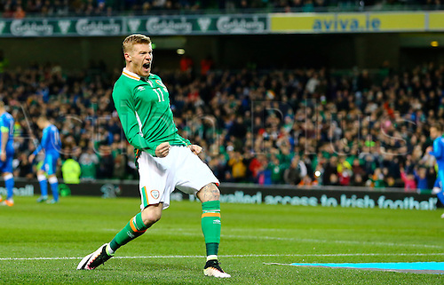 29.03.2016. Aviva Stadium, Dublin, Ireland. International Football Friendly Rep. of Ireland versus Slovakia. James McClean (Rep. of Ireland) celebrates scoring a penalty to make it 2-1 in the 24th minute