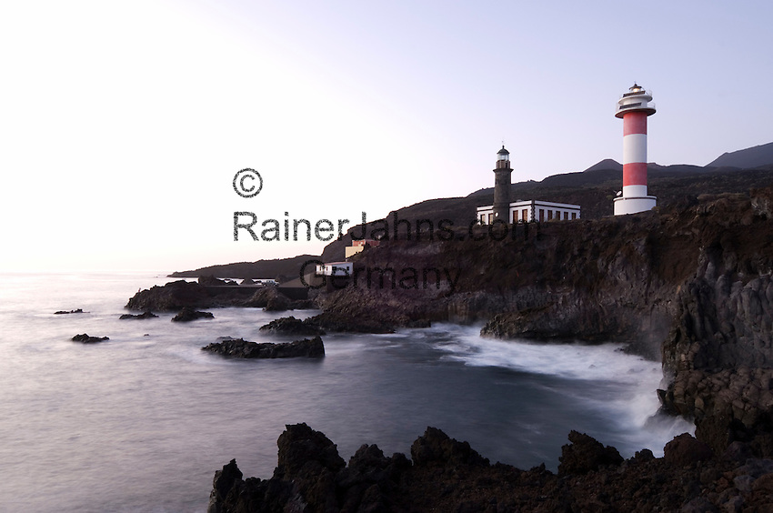 Spain, Canary Islands, La Palma, the southernmost point near Los Canarios Fuencaliente, Punta de Fuencaliente: old and new lighthouse Faro de Fuencaliente at dusk