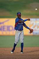 AZL Rangers shortstop Osleivis Basabe (2) throws to the third baseman during an Arizona League game against the AZL Brewers Blue on July 11, 2019 at American Family Fields of Phoenix in Phoenix, Arizona. The AZL Rangers defeated the AZL Brewers Blue 5-2. (Zachary Lucy/Four Seam Images)