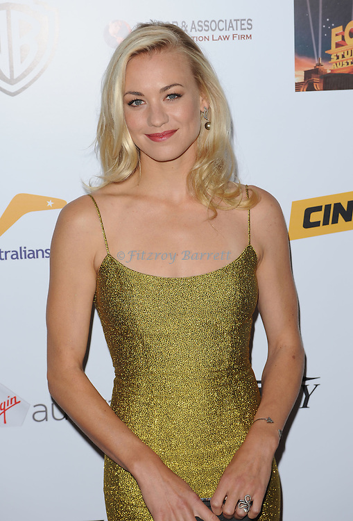 "Yvonne Strahovski arriving to the ""AusFilm International Awards"" held at the InterContinental Hotel Los Angeles, Ca. October 24, 2013."