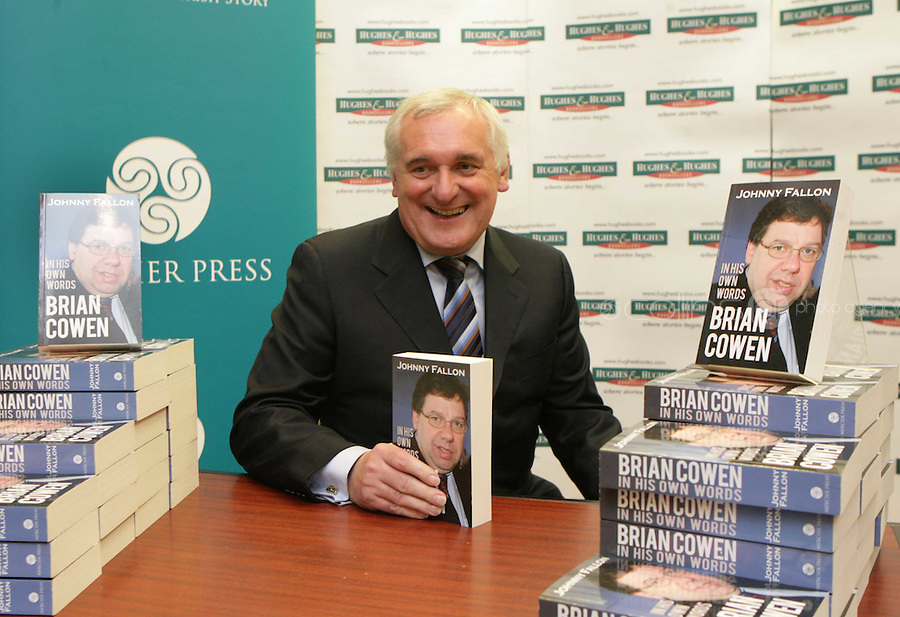 "25/05/2009.Former Taoiseach Bertie Ahern TD  at the launch of Johnny Fallon's book ""Brian Cowen in his Own Words"" at Hughes & Hughes Booksellers in St. Stephens Green Shopping Centre, Dublin..Photo: Gareth Chaney Collins"