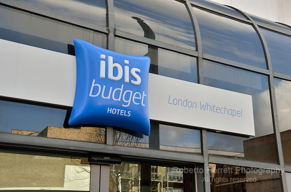 Ibis Budget Hotel in Whitechapel Road, London, UK.
