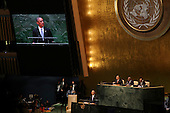 United States President Barack Obama addresses the United Nations 69th General Assembly at UN Headquarters in New York, New York on Wednesday, September 24, 2014. <br /> Credit: Allan Tannenbaum / Pool via CNP