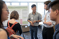 """Beyond Teeth: Examining Access to Medicaid Dental Benefits in Los Angeles County"" by Elena Daniel, Ryan Lee and Ben Smith<br /> (Mentors: Heng Lam Foong and Bhavna Shamasunder, UEP)<br /> Occidental College's Undergraduate Research Center hosts their annual Summer Research Conference, Aug. 1, 2018. Student researchers presented their work as either oral or poster presentations at the final conference. The program lasts 10 weeks and involves independent research in all departments.<br /> (Photo by Marc Campos, Occidental College Photographer)"