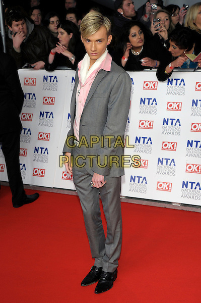 Harry Derbridge of TOWIE.at the National TV Awards 2012 at the O2 Arena, London, England, UK,.25th January 2012..NTA NTAs arrivals full length pink shirt grey gray suit .CAP/PL.©Phil Loftus/Capital Pictures.