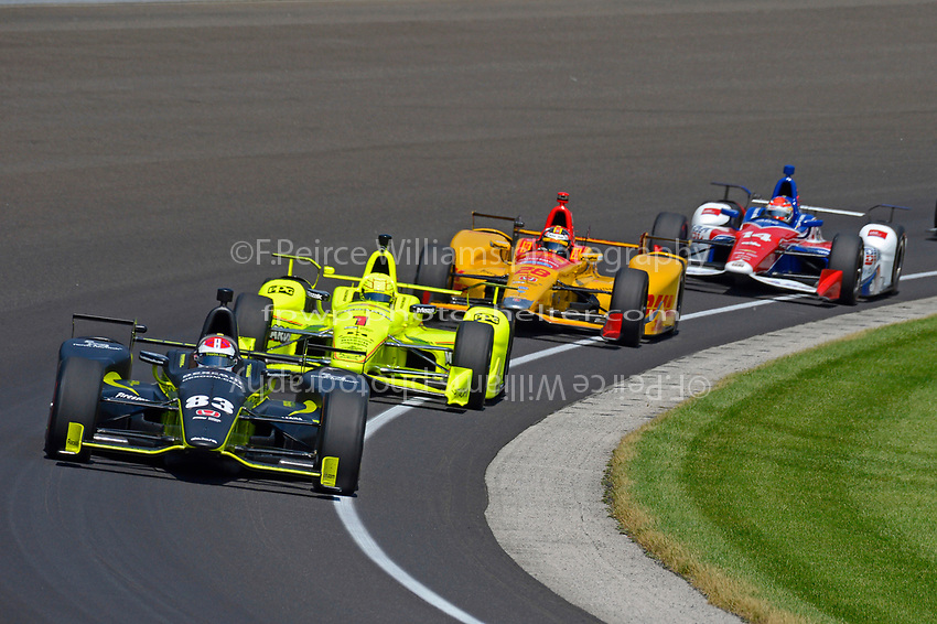 Verizon IndyCar Series<br /> Indianapolis 500 Carb Day<br /> Indianapolis Motor Speedway, Indianapolis, IN USA<br /> Friday 26 May 2017<br /> Charlie Kimball, Chip Ganassi Racing Teams Honda, Simon Pagenaud, Team Penske Chevrolet, Ryan Hunter-Reay, Andretti Autosport Honda, Carlos Munoz, A.J. Foyt Enterprises Chevrolet<br /> World Copyright: F. Peirce Williams