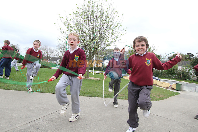 Students from Tullyallen Ns who raised 3,080 by holding a Skipathon at their school...(Photo credit should read Jenny Matthews www.newsfile.ie)....This Picture has been sent you under the conditions enclosed by:.Newsfile Ltd..The Studio,.Millmount Abbey,.Drogheda,.Co Meath..Ireland..Tel: +353(0)41-9871240.Fax: +353(0)41-9871260.GSM: +353(0)86-2500958.email: pictures@newsfile.ie.www.newsfile.ie.