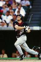 Denny Hocking of the Minnesota Twins during a game against the Anaheim Angels at Angel Stadium circa 1999 in Anaheim, California. (Larry Goren/Four Seam Images)