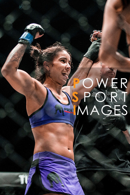 One Championship Heroes of the World Atomweight Istela Nunes of Brazil celebrates after winning Mei Yamaguchi of Japan on 13 August 2016 at The Venetian Macao Cotai Arena in Macau, China. Photo by Marcio Machado / Power Sport Images